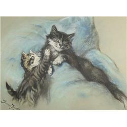 Fannie Moody (British, 1861-1897) Young Kitten Waking up Mom, Pastel on paper,
