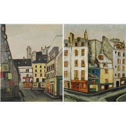 Kamal Youssef (Egyptian/American, b.1926) Pair of Cityscapes, One gouache and one oil on paper board