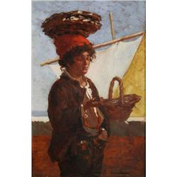Artist Unknown (19th Century) Portrait of a Young Fisherman, Oil on wood,