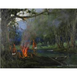 P. Brassin (20th Century) American Indians Landscape Lighting Fire, Oil on canvas,