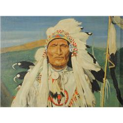 H. K. McLay, Indian Chief, Oil on canvas board,