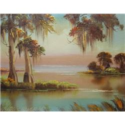 Charles R. Hanford (American, 20th Century) Bayou at Sunset, Oil on canvas,