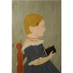 K. Hotchkiss (American, 20th Century) Portrait of a Girl with Book, Oil on wood,