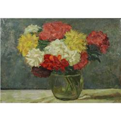 Artist Unknown, Floral Still Life, Oil on board,