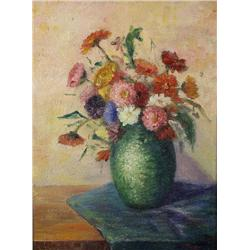 Ripper (20th Century) Still Life Flowers in Vase, Oil on canvas,