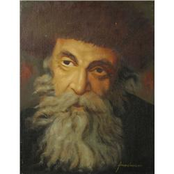 Friedmann (20th Century) Portrait of a Rabi, Oil on cotton laid down on board,