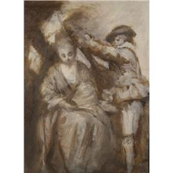 19th Century French School, Figural Study, Oil on paper,