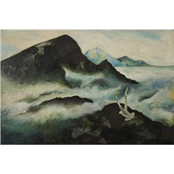 Helen Beal (20th Century) Seascape with Seagull, Mixed Media on board,