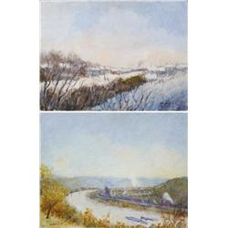 Artist Unknown (20th Century) Pair of Industrial Snow Scenes, Oil on board,