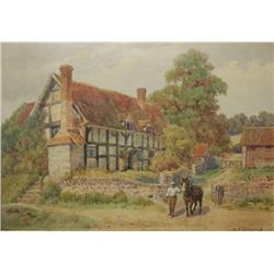 "Alfred Robert Quinton (English, 1853-1954) ""Dudging-Exhall"" Shakespeare Village, Watercolor on paper"