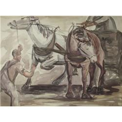 Stephen Czeto (19th/20th Century) Horse Power, Watercolor on paper,
