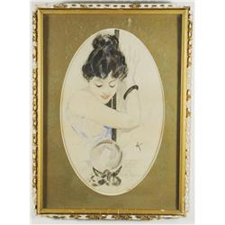 Artist Unknown (20th Century) Young Lady with Crystal Ball, Watercolor on paper,