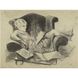 Wealtha Barr Vann Ausdall (American, 1900-1969) Young Girl Reading, Pencil on paper,