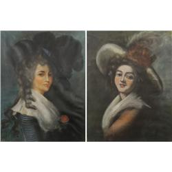 Artist Unknown (19th Century) Pair of Young Women Portraits, Pastels on paper laid over board,