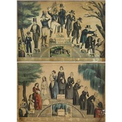 """A Pair of Currier and Ives Prints, """"The Life and Age of Woman"""" and """"The Life and Age of Man""""."""