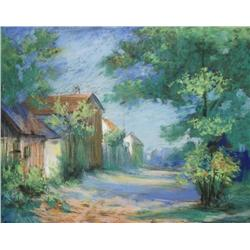 Artist Unknown (20th Century) Landscape with Houses, Pastel on paper,