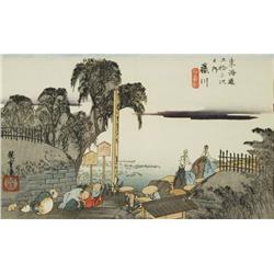 Ando Hiroshige, No. 38 Fujikawa from Tokaido Road Series, Woodblock print.