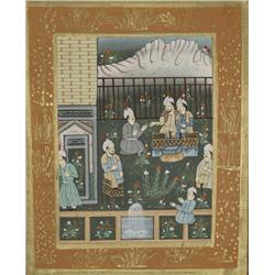 19th Century Indian School, Figures in a Garden, Gouache and ink on silk,