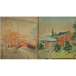 Artist Unknown Two Chinese Woodblock Prints, 20th Century.