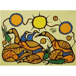Morrisseau Norval (Ojibway, 1931-2007) Spiritual Feast, Lithograph,