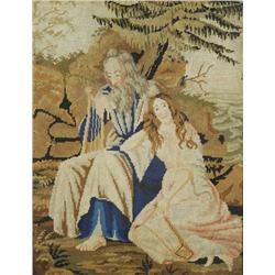 A 19th Century Needlepoint Depicting Two Figures in a Landscape with Harps.