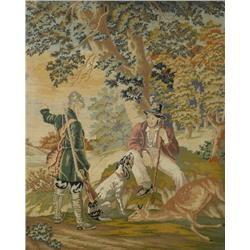 A 19th Century Needlepoint Depicting Hunters in a Landscape.