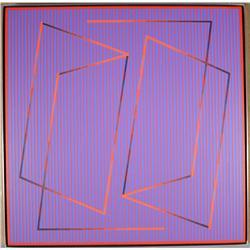 Julian Stanczak (Polish/American, b.1928) Two in One- Ultra, 1991, Acrylic on wood.
