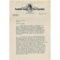 Signed letters from producers/directors: Darryl Zanuck, Fritz Lang, Francois Truffaut & John Huston