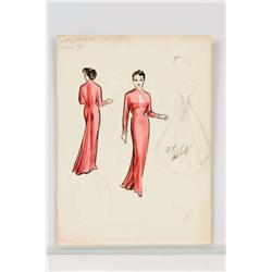 Irene Sharaff costume design sketch for Judy Garland from A Star Is Born