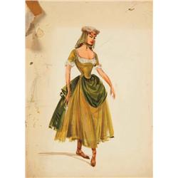 Pair of Irene Sharaff costume sketches from Brigadoon