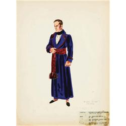 Edward Stevenson costume sketch for Michael Rennie from Desirée