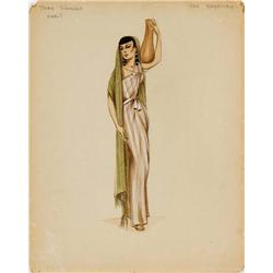 Costume design sketch for Jean Simmons from The Egyptian