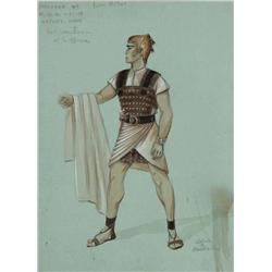 Adele Balkan costume sketch for Victor Mature from The Egyptian