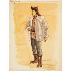 Yvonne Wood costume sketch for John Wayne from The Conqueror