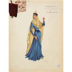Ralph Jester costume sketch for harem wife from Omar Khayyam