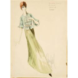 Donfeld costume sketch for Diane Cilento from Hombre