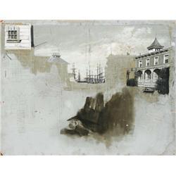 Harbor scene matte painting