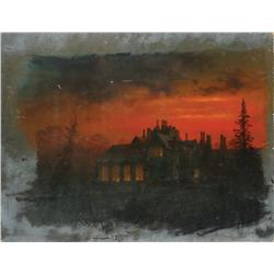 Matte painting of Manderlay manor house from Rebecca