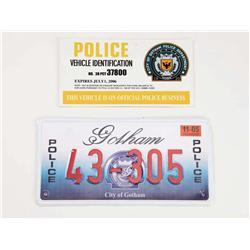 Gotham City police car license plate and vehicle identification card from Batman Returns