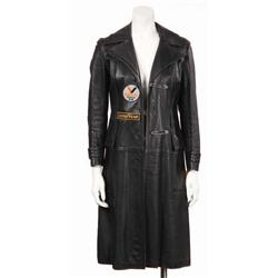 Angelina Jolie long black leather jacket with patches from Gone in 60 Seconds