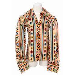 """Michael Jackson Aztec print collared pullover shirt from 1972 worn while singing """"Got To Be There"""""""
