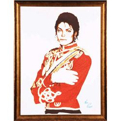 Nate Palant acrylic portrait of Michael Jackson personally commissioned & signed by Michael Jackson