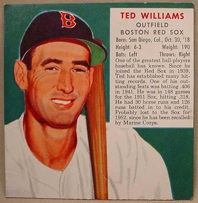 1953 Redman Tobacco Baseball Card Ted Williams