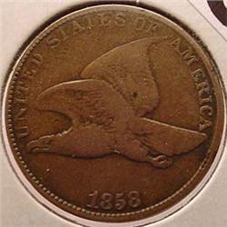 1858 FLYING EAGLE CENT / PENNY W/ LARGE LETTERS -