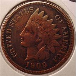 1909-S INDIAN HEAD CENT / PENNY - VF