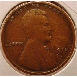 1915-S LINCOLN CENT / PENNY - F