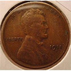 1911-S LINCOLN CENT / PENNY - F