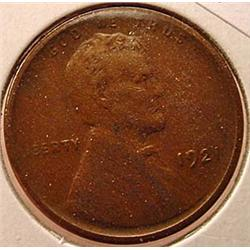 1921-S LINCOLN CENT / PENNY - VF+