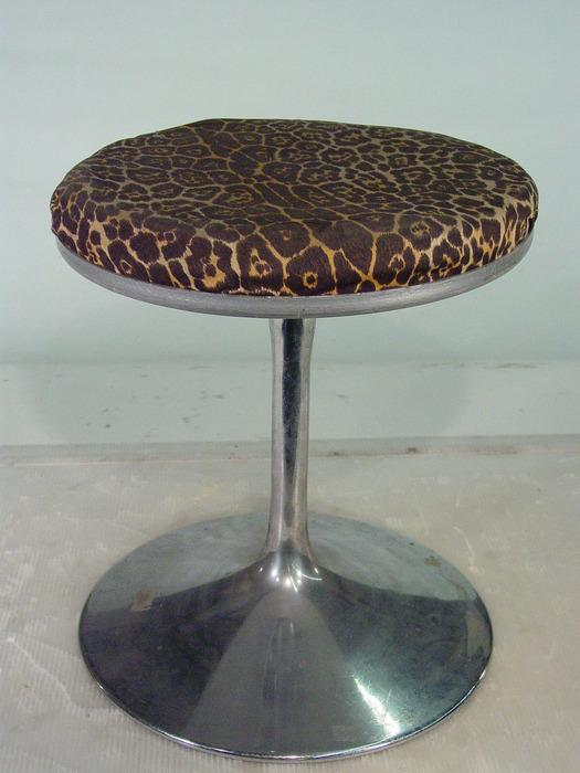 Magnificent Vintage Leopard Print Vanity Stool With Chrome Base Cjindustries Chair Design For Home Cjindustriesco