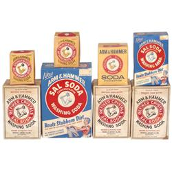 General store shelf stock, Arm & Hammer Washing Soda & Bicarbonate Soda boxes (8), all full of orig